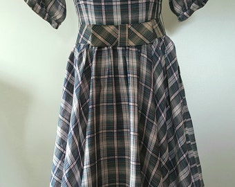 Jonathan Logan Dress / 50s Dress / Plaid Dress / Circular Skirt Dress / 60s Dress