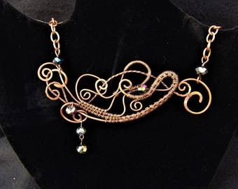 Wire Wrapped and Hammered Coppper Bib Style Pendant Necklace