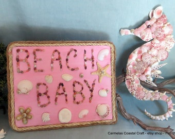 Pink Beach baby sign_beach decor_Baby Girl nursery decor_baby shower gifts