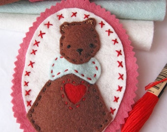 Love You Beary Much - Felt Heart Ornament Decoration Pattern - Bear Ornament Pattern - PDF Instant Download