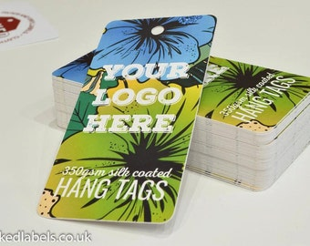 Custom hang tags - clothing tag - swing tag - printed with your details on thick card on our pro press, for clothing labels and packaging