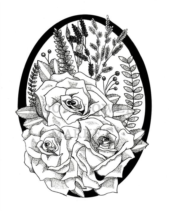 Rose Bouquet in Drawn Frame Print