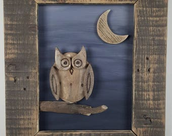Rustic Owl and Moon Wall Hanging.  Makes a great night light!