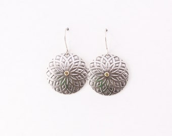 "Cultural silver earrings, bold round silver dangles with an intricate pattern and travel inspired - ""Silver Mandala Earrings - small"""