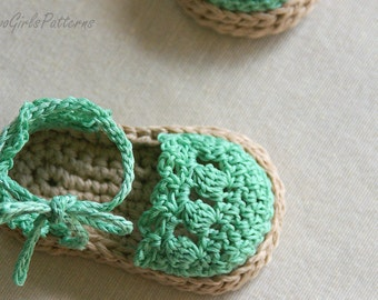 CROCHET PATTERN Baby Girl Espadrille Shoes (Sizes include 0-12 months sizing) Instant Download - Crochet pattern 119 L