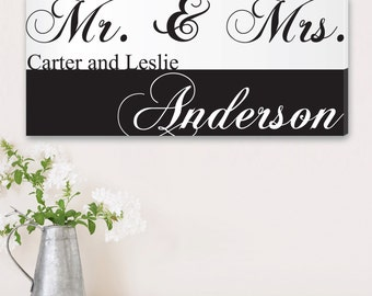 """Personalized Couples Canvas Sign -  Custom Engagement Print -  Personalized Mr and Mrs Canvas Sign - 14"""" x 24"""" - CA0032"""