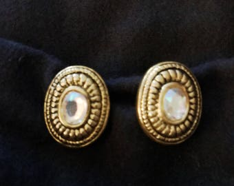 Faux Gold Clip-on earrings with rhinestone center
