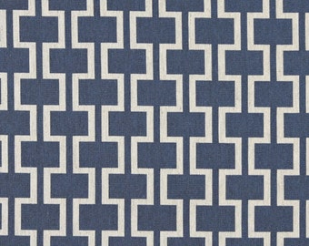 Blue And Off White Modern Geometric Designer Quality Upholstery Fabric By The Yard | Pattern # A0006E