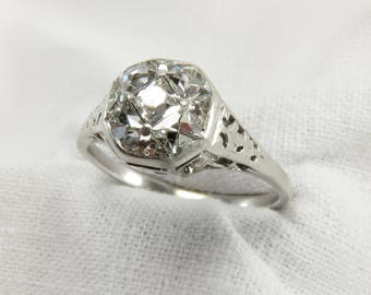 New to Spring Sale.  Circa 1915 Edwardian Platinum Engagement Ring with French Cut Diamonds, VS2 Clarity.