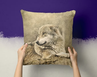 TERRA Wolf Pillow Wolf Gifts Wolves 18x18 Throw Pillows Wolf Print Wolf Gifts Home Decor Wolf Decor Wolf Cushion  Animal Pillow Animals