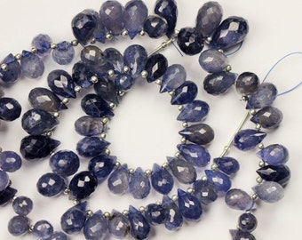 8 inch long strand faceted drop IOLITE briolette beads 6 x 9 -- 9 x 16 mm