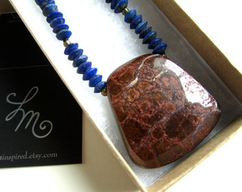 Boulder Matrix Opal in Ironstone Pendant Necklace with Matte Blue Natural Afghani Lapis Lazuli and Lead-Free Brass Details by LM-inspired