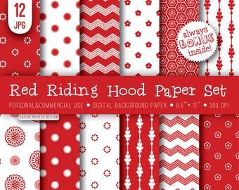 8.5 x 11 Red White Digital Paper, 8.5 x 11 print, flourish paper, red riding hood, red white, red white paper, background paper, printable