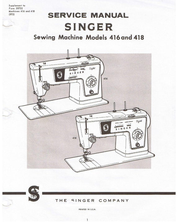 singer stylist sewing machine models 416 418 adjusters service rh etsy com Singer Treadle Sewing Machine Manual Singer Sewing Machine Parts Catalog
