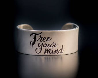 Free Your Mind Engraved Bracelet Cuff