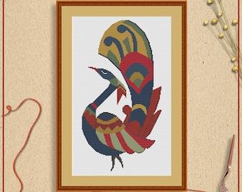 Peacock cross stitch, Peacock X stitch, Folk art cross stitch, Scandinavian cross stitch, Retro cross stitch, Cross stitch pattern printable