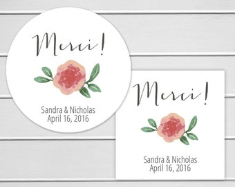 Merci Stickers, Personalized Thank You Wedding Stickers, Merci Labels, Envelope Seals  (#253)