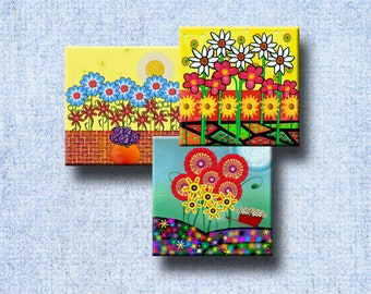 FUNKY FLOWER GARDENS - Digital Collage Sheet 2.5 inch square images for Magnets, Jewelry, Decoupage, Gift Tags etc. - Instant Download #238.