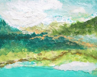 Hawaii painting, Encaustic abstract painting, abstract landscape, abstract beach painting, green landscape