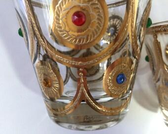 Vintage Culver 22kt Gold Ornaments Whiskey Glasses...Rare Culver Gold Medallion Rock Glasses...Signed Culver Christmas Ornament Glass..