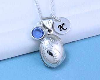 Small Oval Locket Necklace, Genuine Sterling Silver Locket Necklace, Personalized Charms of your choice. Remembrance. Heirloom. R-13