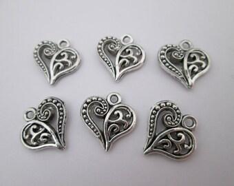 6 breloque joli coeur ajouré métal argenté 14 x 13 mm