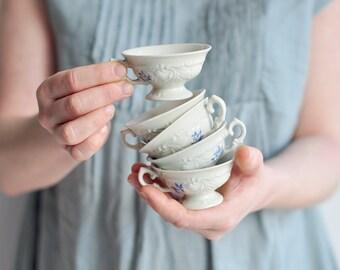 SET of 5 - vintage beautiful cups with blue flowers, KPM manufactory,  espresso cups, cute little tea cup, coffe cup, porcelain