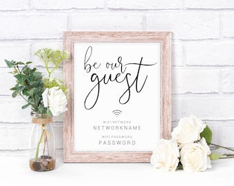 Custom Be Our Guest WIFI Sign, Home Decor Wall Art