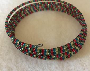 Christmas Colors Wraparound Bracelet