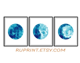 Watercolor moon wall art, Printable moon poster, Moon phases print, Set of 3 moon poster, Blue wall decor, Instant download