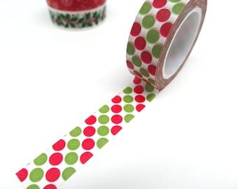 Green and Red Polka Dots Washi Tape