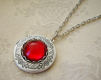 Silver Red Ruby Locket Valentines Day  Wedding Bride Bridesmaid Birthday Mother Daughter Wife Sister Anniversary Photo Pictures - Jolene