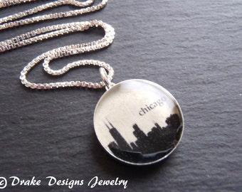 Chicago Skyline Necklace Sterling Silver custom city necklace