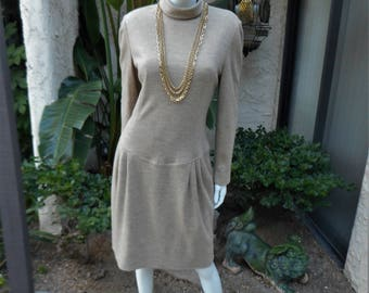 Vintage 1980's Adele Simpson Beige Wool Dress - Size 12
