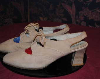 "Beige suede shoes ""Marie-Claire"" 1980 - T:39"