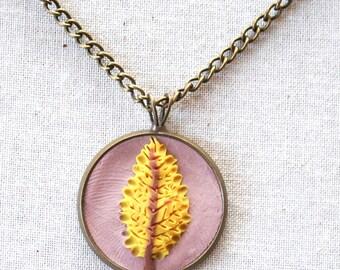 Earth Clay Jewelry - 18'' Pendant Necklace, Miniature Nature Scene Sculpture - Gold Leaf