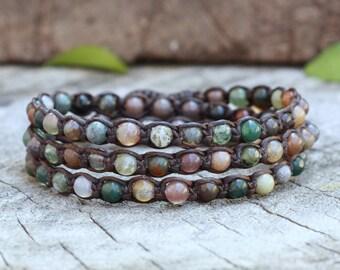 Fancy Jasper Indian Agate Beads Triple Wrap Bracelet