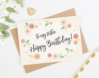 Sister Birthday Card Floral Bright
