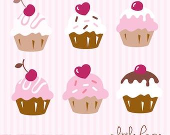Six Cute Cupcakes Digital Clip Art - PNG files instant download V.2