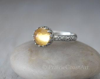 Citrine Ring Sterling Silver - Rose Cut Citrine Gemstone Ring - November Birthstone Ring  -  Yellow Topaz Color Gemstone Ring