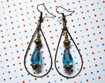 Aqua and Brass Teardrop Earrings (3026)