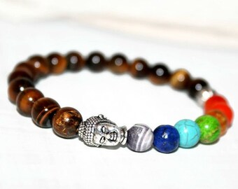 7 Chakra Bracelet, Chakra Bracelet Buddha, Tiger Eye Bracelet Men, Chakra Jewelry Men, Yoga Healing Bracelet, Chakra Healing Jewelry