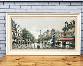 Large signed vintage oil painting of a city scene - impressionist style