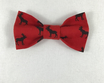 Red and Black Moose Cat Bow tie, Cat tie, Cat Bow tie collar