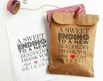 Wedding Favor Bags-Candy Buffet Bags-Wedding bags Personalized-A Sweet Ending to a New Beginnning