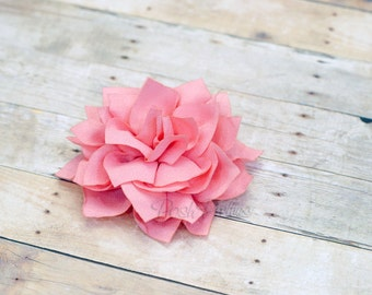 Pink Flower Hair Clip - Lotus Blossom - With or Without Rhinestone Center