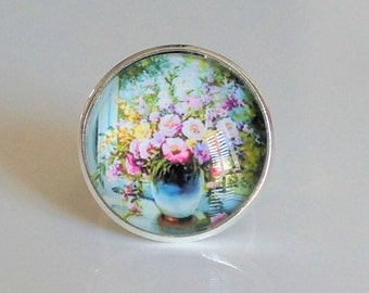 Ring adjustable glass cabochon, floral, silver, gift idea