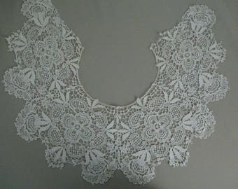 FREE SHIPPING Antique Vintage Guipure Lace Collar Large Cotton
