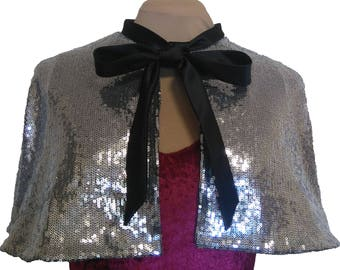 Silver sequin capelet