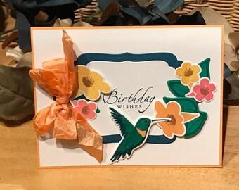 Hummingbird birthday card, birthday card for her, floral birthday card, hummingbird and flower birthday card, bird birthday card